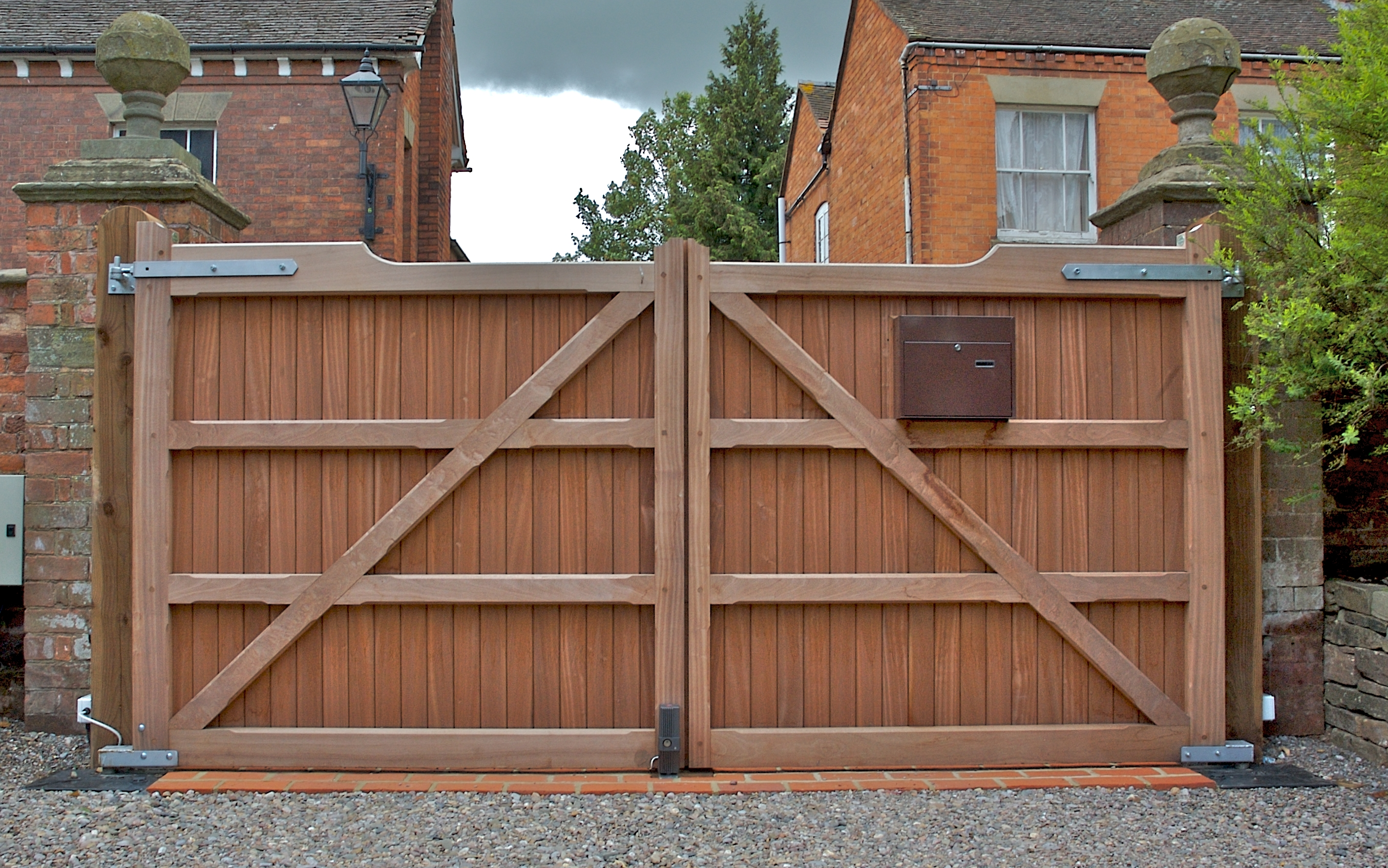 wooden electric gates