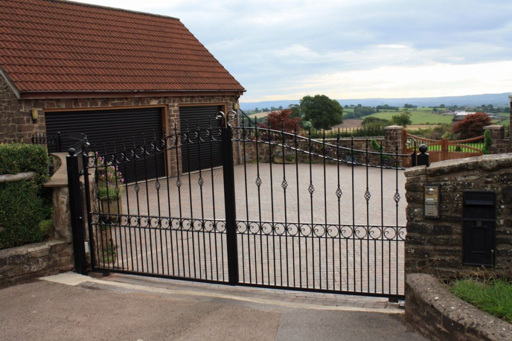 Garage black steel gates